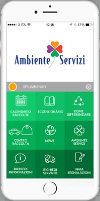smartphone con app ambiente e servizi